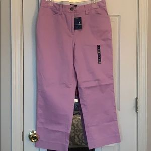 NWT Pink Lands End Cropped Chino Pants